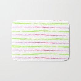 Modern lime green pink watercolor watermelon stripes Bath Mat