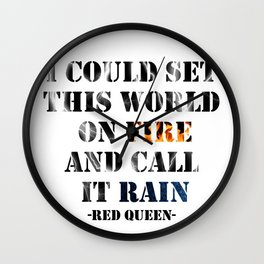I Could Set this World on Fire | Red Queen Wall Clock