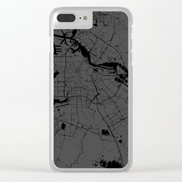 Amsterdam Gray on Black Street Map Clear iPhone Case