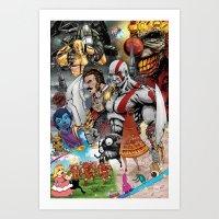 playstation Art Prints featuring PlayStation Santa Monica Studio Fan Art by The Art of Matt Morgan