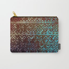 Grunge Bronze and blue Tribal Ethnic  Patter Carry-All Pouch
