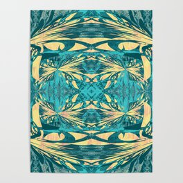 Glowing Gold Turquoise Contemporary Tribal Wall Hanging Poster