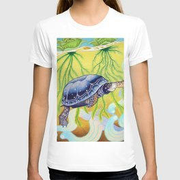 Swimming Spotted Turtle, Turtle Art T-shirt