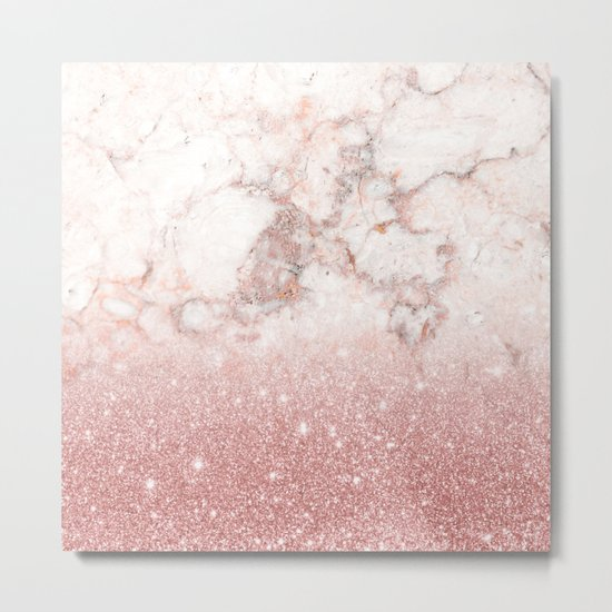 Elegant Faux Rose Gold Glitter White Marble Ombre Metal Print