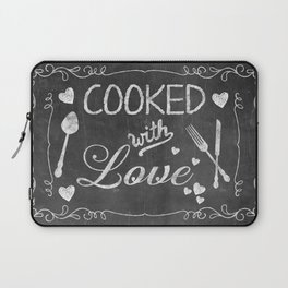 Cooked with Love Retro Chalkboard Sign Laptop Sleeve