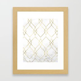 Gold Geometric Marble Pattern Framed Art Print