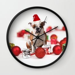 Bulldog Christmas Gift Box Ornaments Red Santa Hat Wall Clock