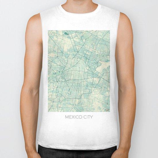 Mexico City Map Blue Vintage Biker Tank