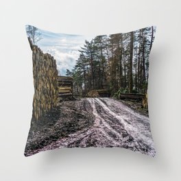 Poltery Site (Wood Storage Area) After Storm Victoria Möhne Forest 5 Throw Pillow