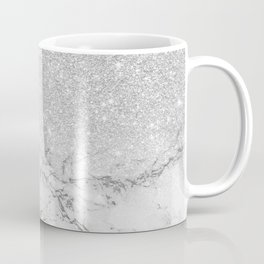Modern faux grey silver glitter ombre white marble Coffee Mug