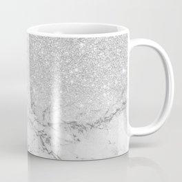 Modern faux grey silver glitter ombre white marble Kaffeebecher