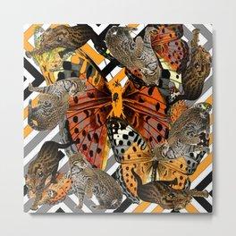 OCELOT CATS & BUTTERFLIES NATURE ART Metal Print