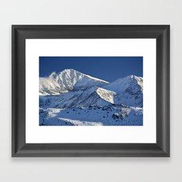 Snowy mountains. 3.478 meters Framed Art Print