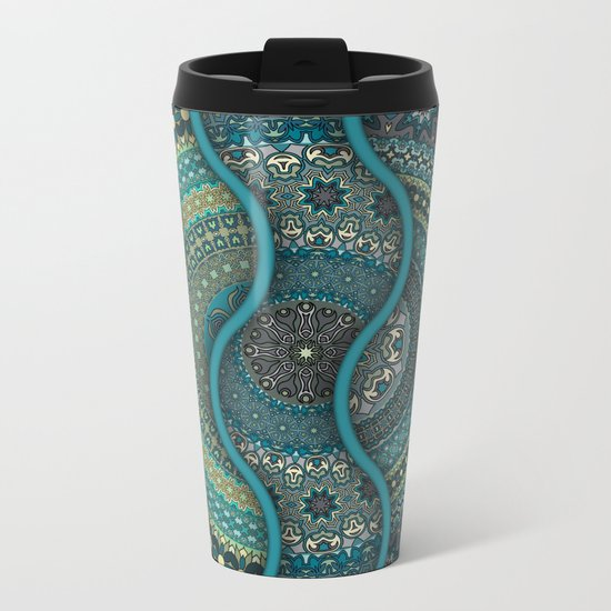 Colorful abstract ethnic floral mandala pattern design Metal Travel Mug