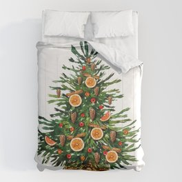 Watercolor Christmas Spruce Tree Comforters
