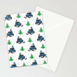 Snowmobile Pattern (blue) Stationery Cards