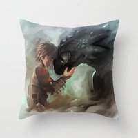 hiccup Throw Pillows featuring hiccup & toothless by AkiMao