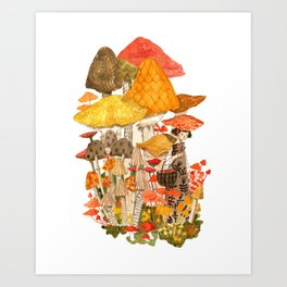 The Mushroom Gatherers  Art Print