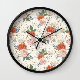 Retro Rose Garden on Ivory Wall Clock