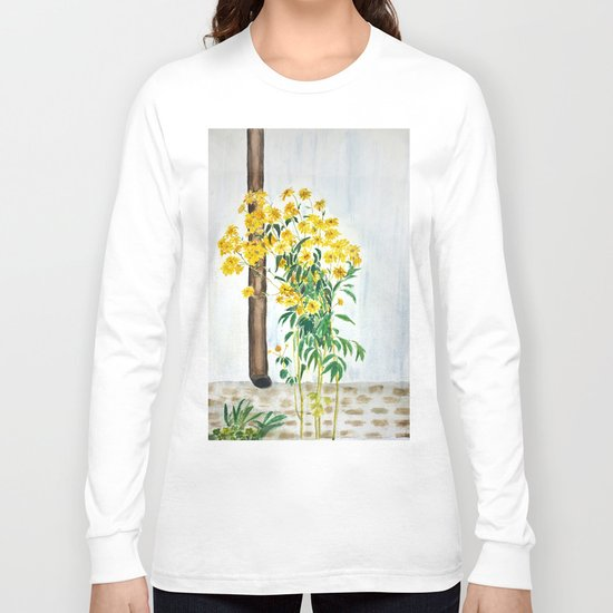 sun choke flowers outside a house Long Sleeve T-shirt