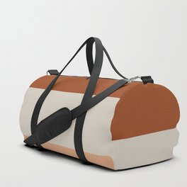 Minimalist Color Block Triple Stripe in Apricot, Rust Clay, and Putty Duffle Bag