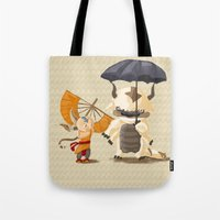 appa Tote Bags featuring Cross over Ghibli Appa  by Minette Wasserman