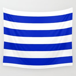 Cobalt Blue and White Wide Cabana Tent Stripe Wall Tapestry
