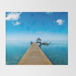 Tahiti Boat Dock Throw Blanket