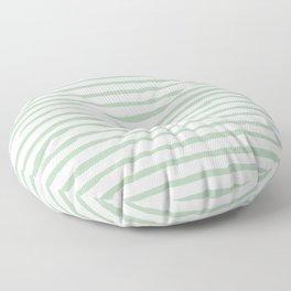 Elegant Stripes White and Pastel Cactus Green Floor Pillow