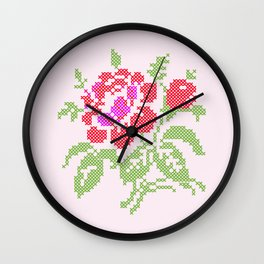 Embroidered red rose Wall Clock