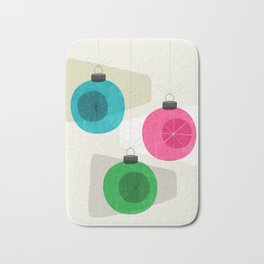 Retro Holiday Baubles Bath Mat