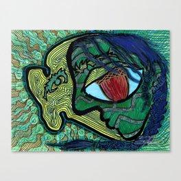 Green Face with an Acorn for an Eye Canvas Print