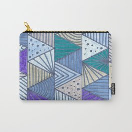Geometric Blue Carry-All Pouch