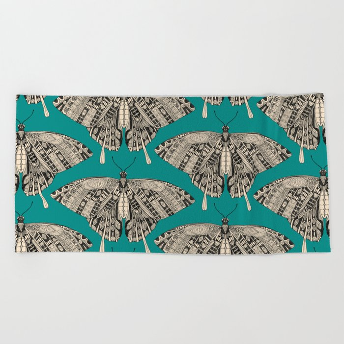 swallowtail butterfly teal black Beach Towel