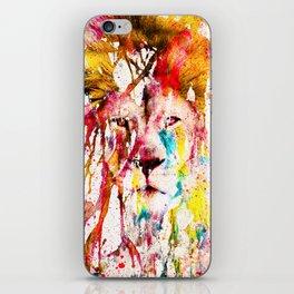 Wild Lion Sketch Abstract Watercolor Splatters iPhone Skin