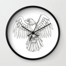 American Eagle Clutching Skull Doodle Wall Clock