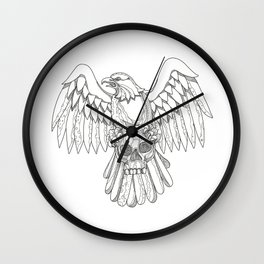 American Eagle Clutching Skull Doodle Wall Clock