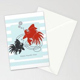 Happy Aquatic Days - Funny Cute Goldfish Stationery Cards