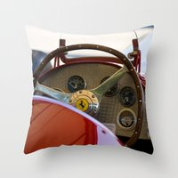 f1 Throw Pillows featuring 1950 Ferrari 212 F1 Interior by Andre Gascoigne