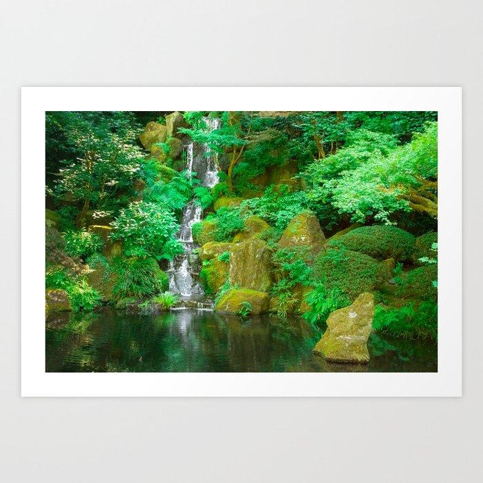 Fountain And Pond In Japanese Zen Garden Art Print By
