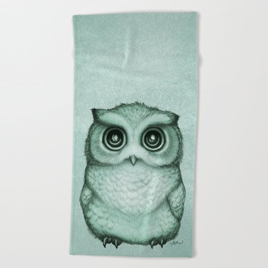 """The Little Owl"" ~ (Willow Leaf Version) Graphite & Ink Illustration, (c) 2016 Beach Towel"