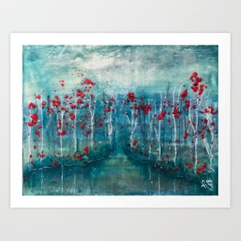 Red Flower Marsh Art Print