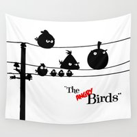hitchcock Wall Tapestries featuring Hitchcock´s The angry Birds by dutyfreak