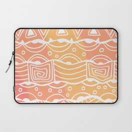 Wavy Tribal Lines with Shapes - White on Orange - Doodle Drawing Laptop Sleeve