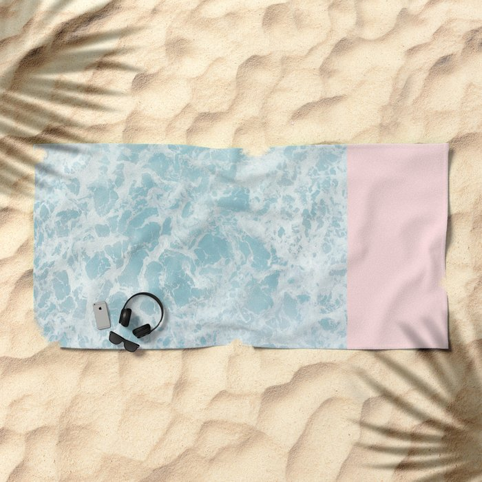Pink on the Sea Beach Towel