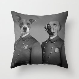 Crime Fighting Pooches Throw Pillow