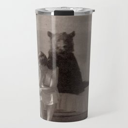 The Bear that came for Dinner black and white photograph Travel Mug
