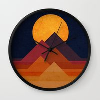 pyramid Wall Clocks featuring Full moon and pyramid by Picomodi