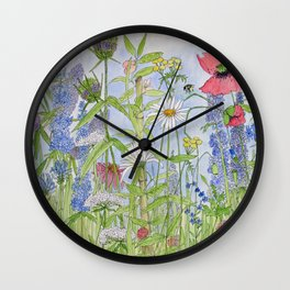 Flowers Alive Watercolor Wall Clock