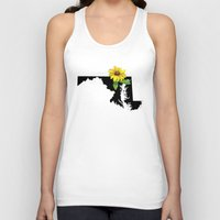 maryland Tank Tops featuring Maryland Silhouette and Flower by Ursula Rodgers